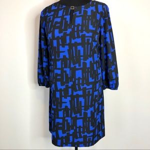 Tahari Size 10 Black and Blue Color Sheath Dress